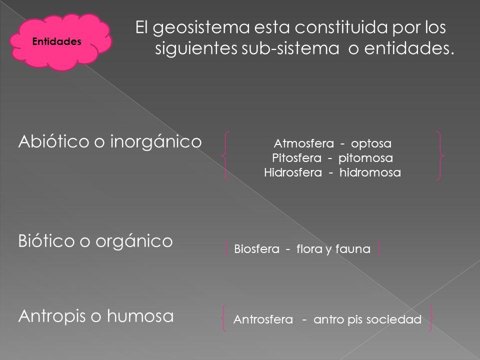 Abiótico o inorgánico Biótico o orgánico Antropis o humosa