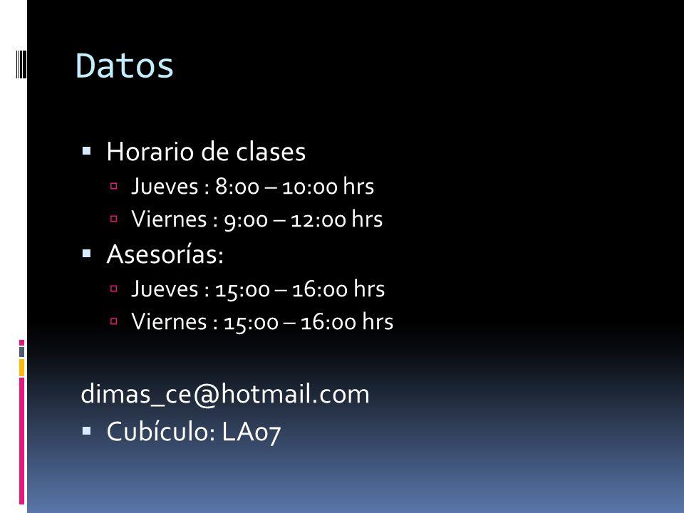 Datos Horario de clases Asesorías: dimas_ce@hotmail.com Cubículo: LA07