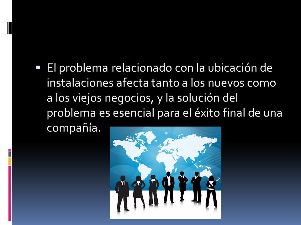 El problema relacionado con la ubicación de instalaciones afecta tanto a los nuevos como a los viejos negocios, y la solución del problema es esencial para el éxito final de una compañía.