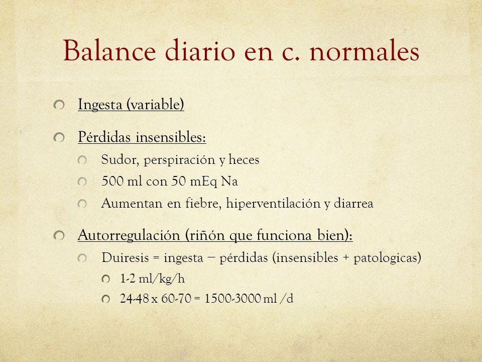 Balance diario en c. normales