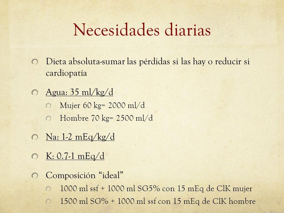 Necesidades diarias Dieta absoluta-sumar las pérdidas si las hay o reducir si cardiopatía. Agua: 35 ml/kg/d.