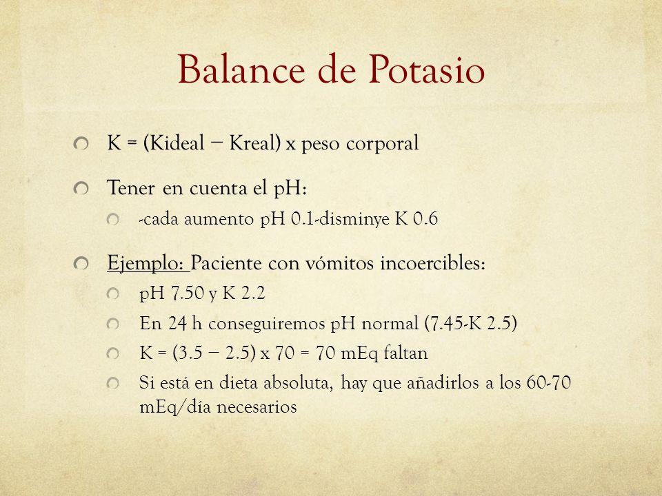 Balance de Potasio K = (Kideal − Kreal) x peso corporal