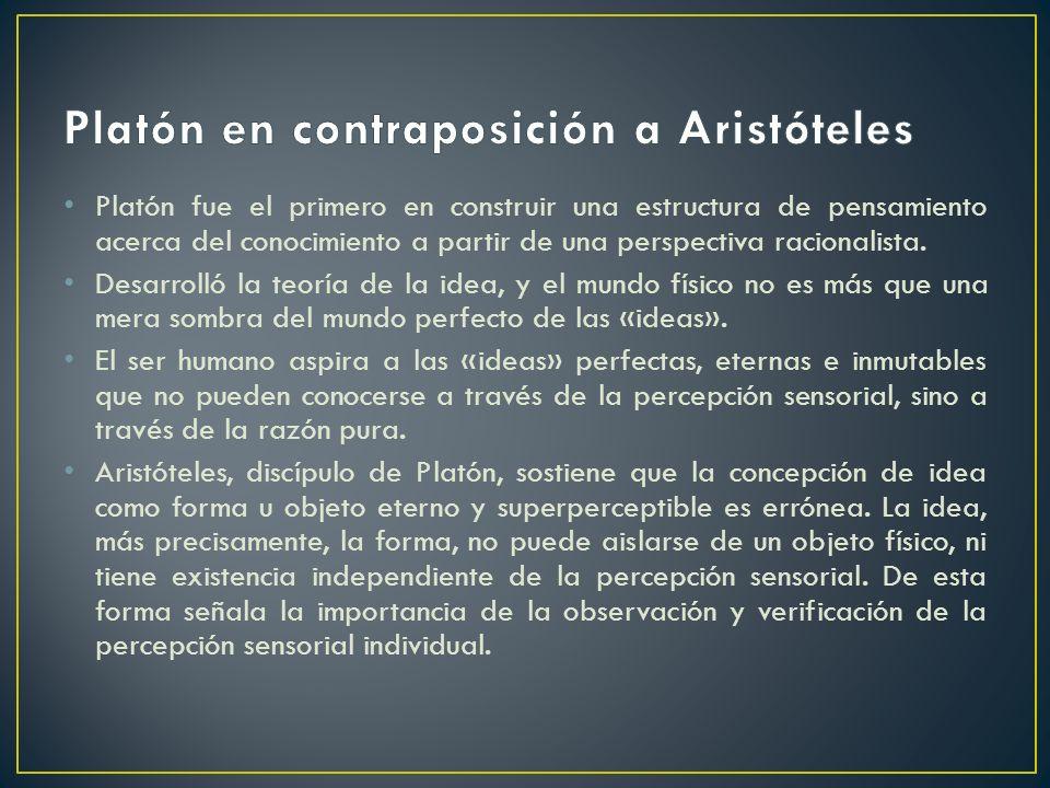 Platón en contraposición a Aristóteles