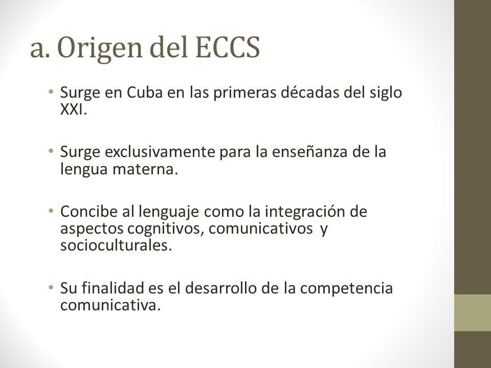 a. Origen del ECCS Surge en Cuba en las primeras décadas del siglo XXI. Surge exclusivamente para la enseñanza de la lengua materna.