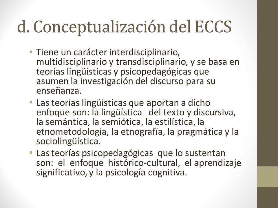 d. Conceptualización del ECCS