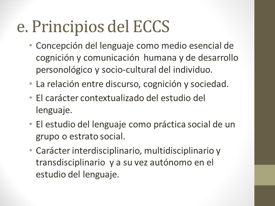 e. Principios del ECCS