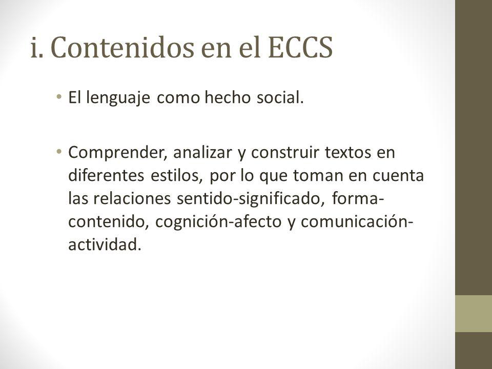 i. Contenidos en el ECCS El lenguaje como hecho social.