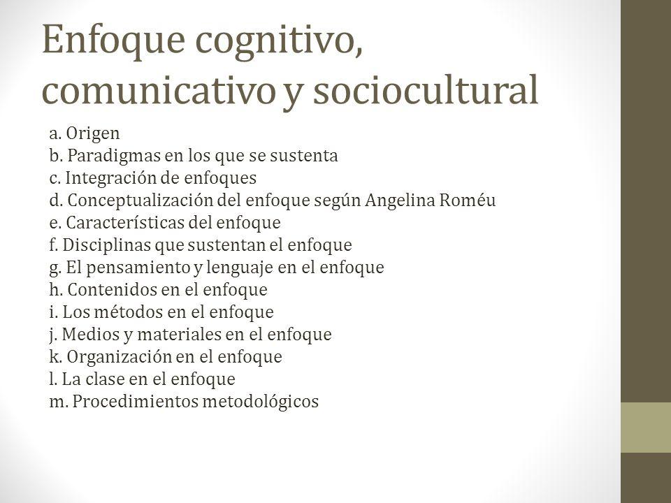 Enfoque cognitivo, comunicativo y sociocultural