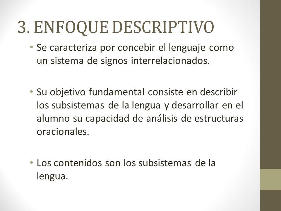 3. ENFOQUE DESCRIPTIVO Se caracteriza por concebir el lenguaje como un sistema de signos interrelacionados.