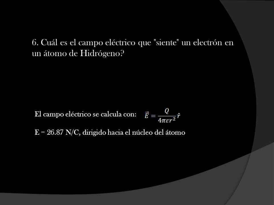 6. Cuál es el campo eléctrico que siente un electrón en un átomo de Hidrógeno