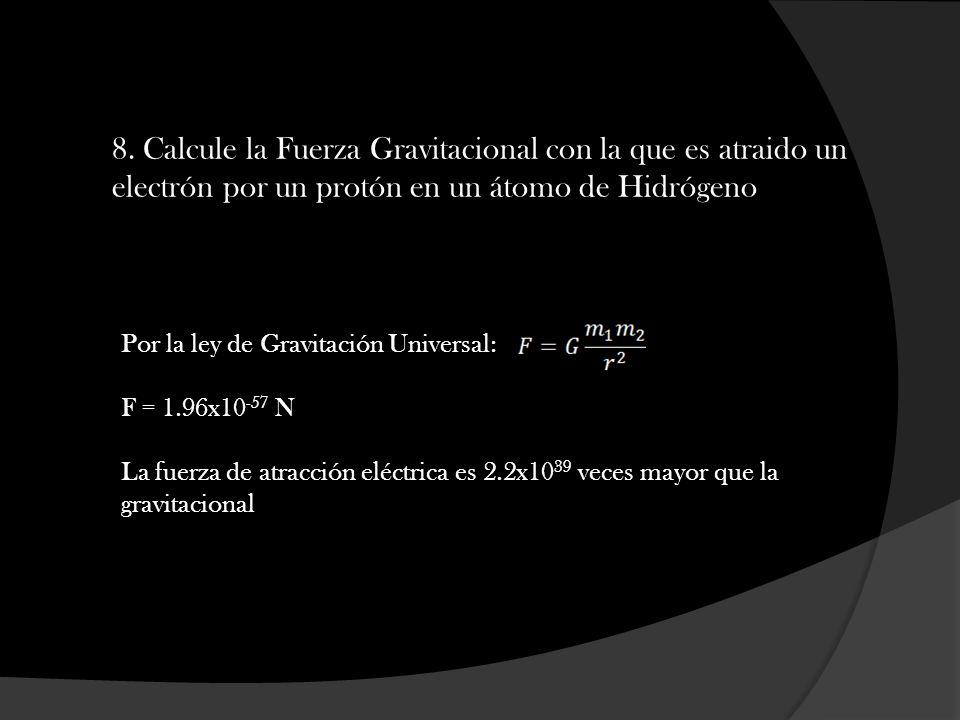 8. Calcule la Fuerza Gravitacional con la que es atraido un electrón por un protón en un átomo de Hidrógeno
