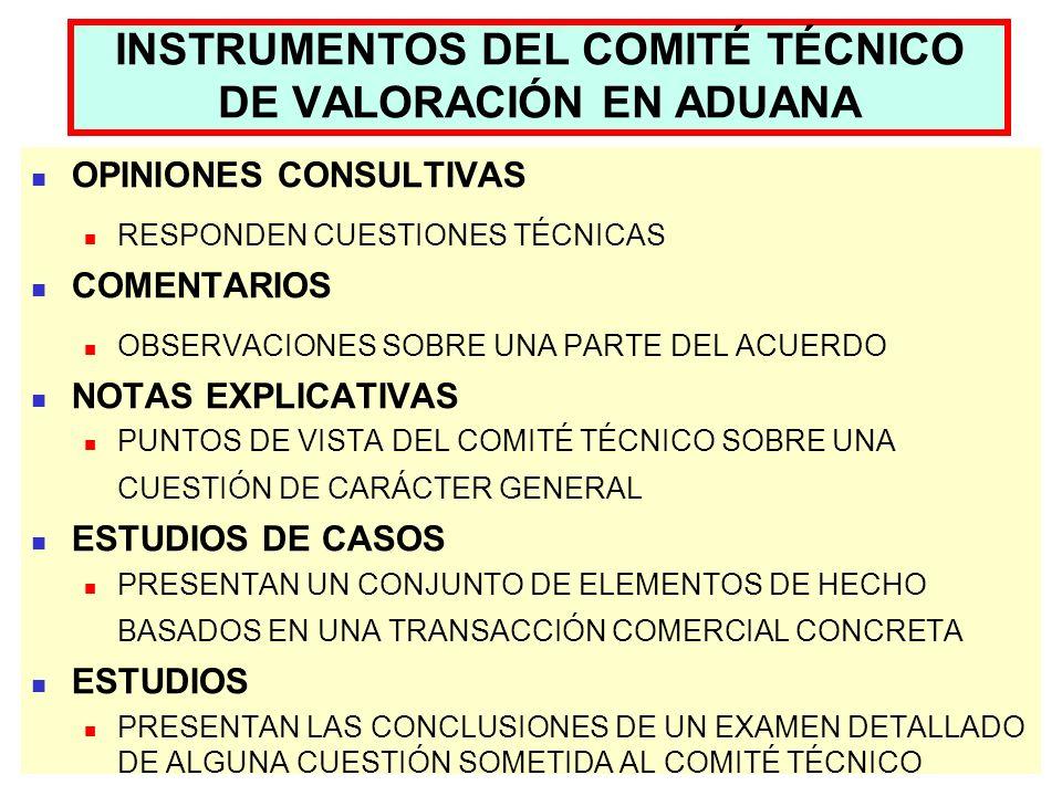 INSTRUMENTOS DEL COMITÉ TÉCNICO DE VALORACIÓN EN ADUANA