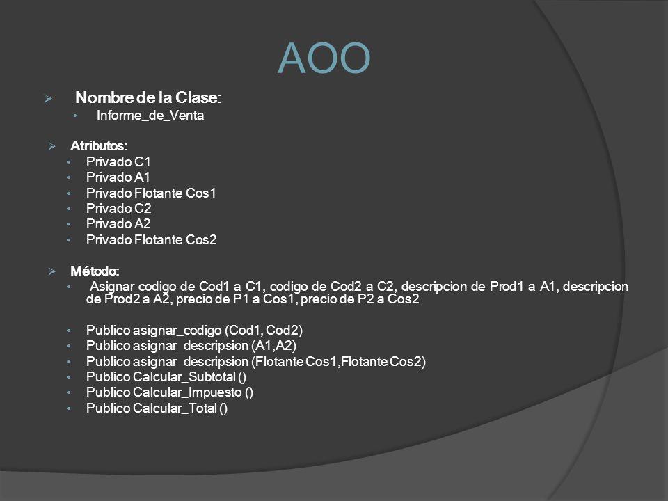 AOO Nombre de la Clase: Informe_de_Venta Atributos: Privado C1