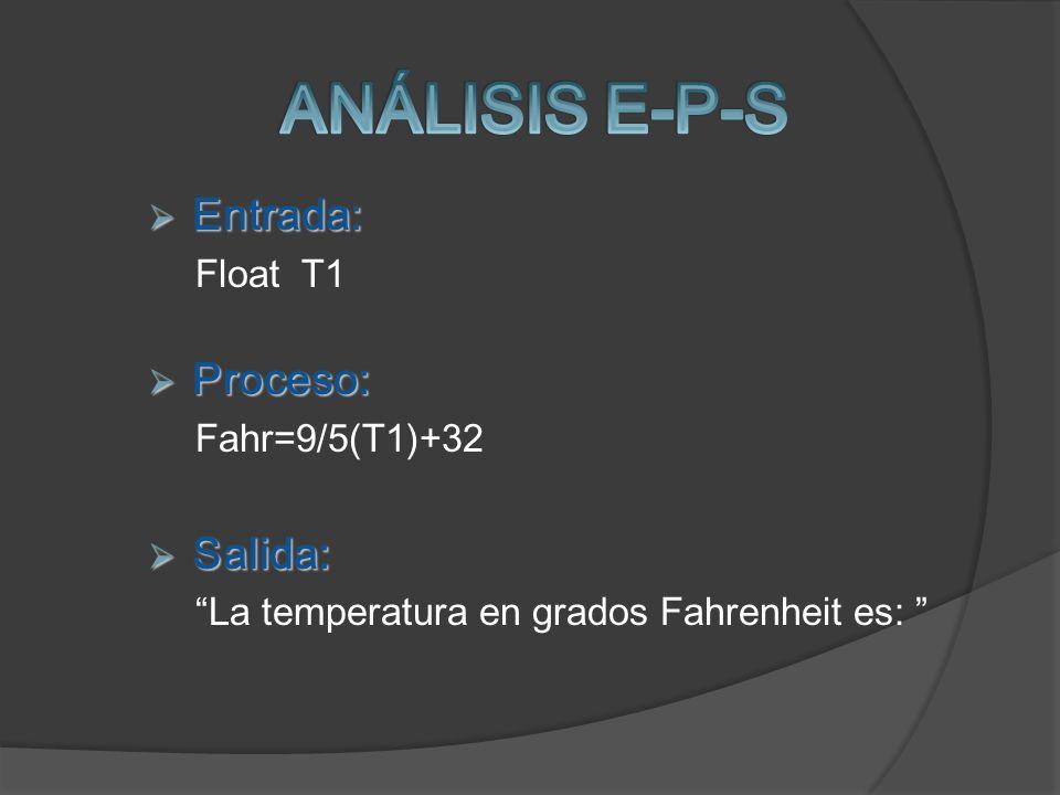 ANÁLISIS E-P-S Entrada: Proceso: Salida: Float T1 Fahr=9/5(T1)+32