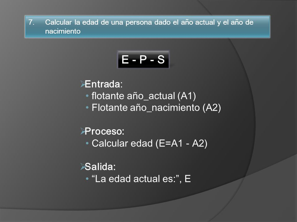 E - P - S Entrada: flotante año_actual (A1)