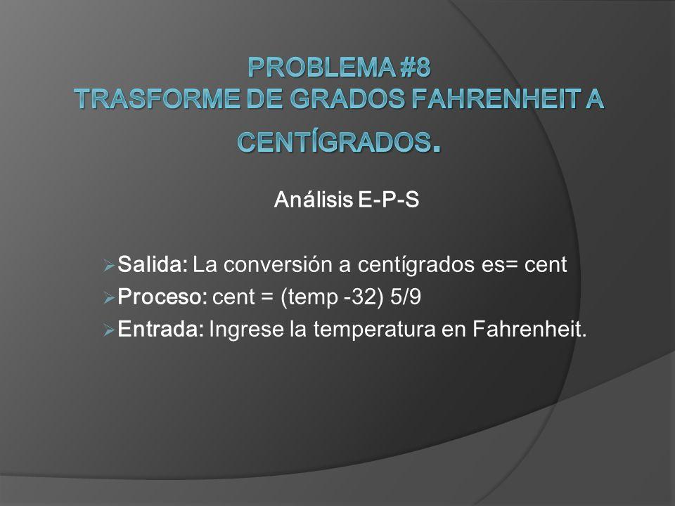 Problema #8 Trasforme de grados Fahrenheit a centígrados.