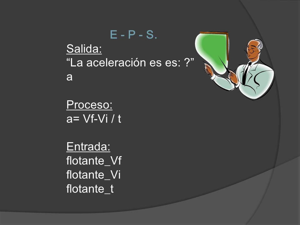 E - P - S. Salida: La aceleración es es: a. Proceso: a= Vf-Vi / t. Entrada: flotante_Vf. flotante_Vi.