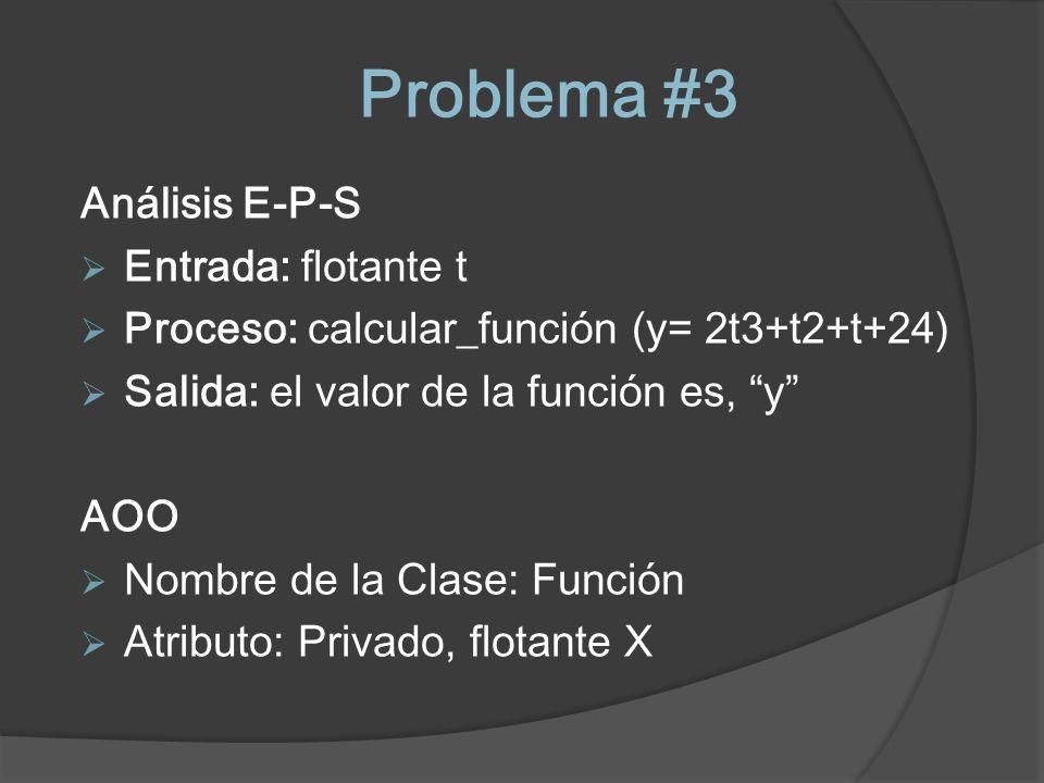 Problema #3 Análisis E-P-S Entrada: flotante t