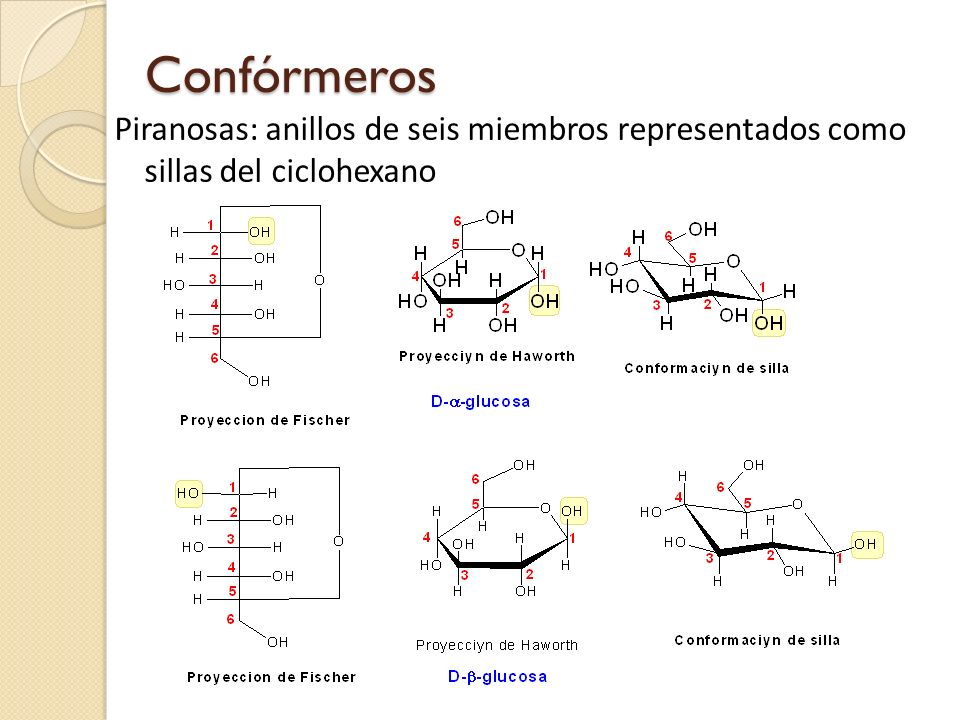 Confórmeros Piranosas: anillos de seis miembros representados como sillas del ciclohexano