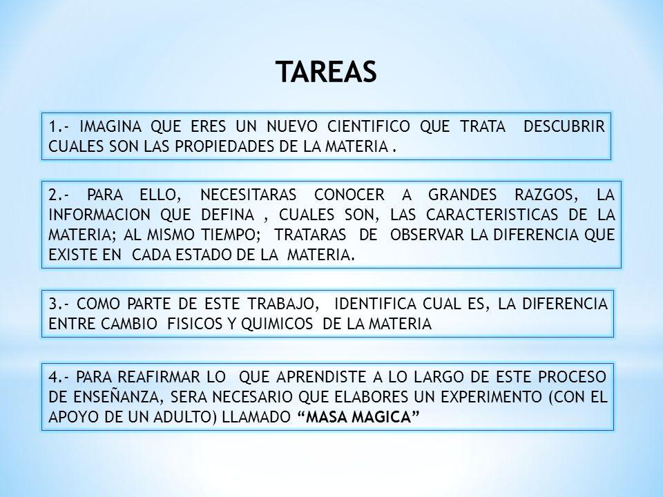 TAREAS 1.- IMAGINA QUE ERES UN NUEVO CIENTIFICO QUE TRATA DESCUBRIR CUALES SON LAS PROPIEDADES DE LA MATERIA .