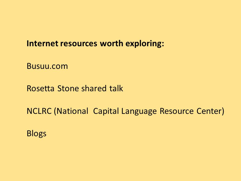 Internet resources worth exploring: