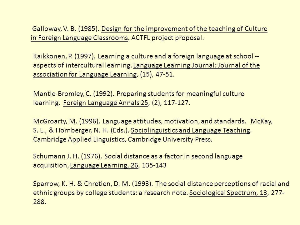 Galloway, V. B. (1985). Design for the improvement of the teaching of Culture in Foreign Language Classrooms. ACTFL project proposal.
