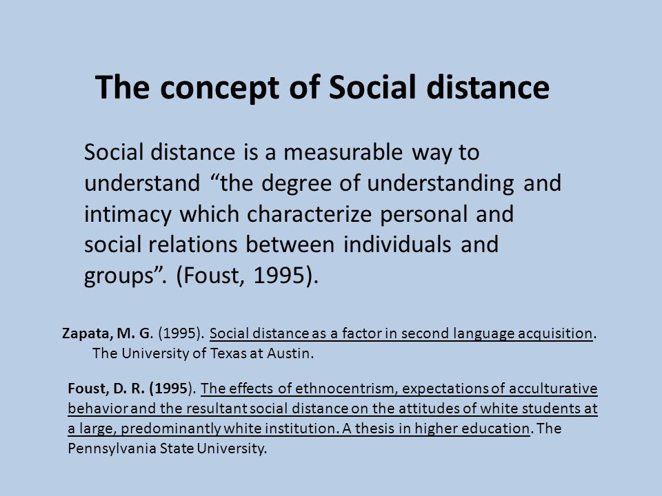 The concept of Social distance
