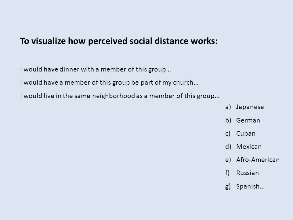 To visualize how perceived social distance works: