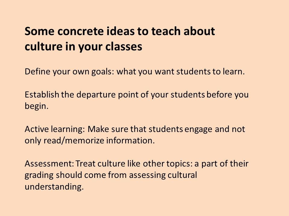 Some concrete ideas to teach about culture in your classes