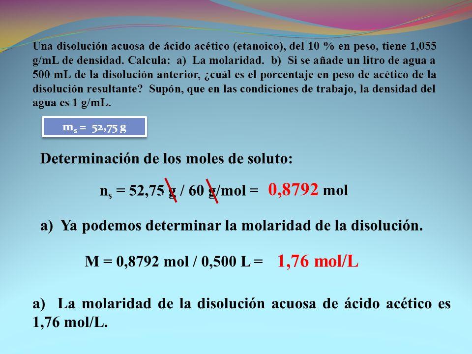 0,8792 mol Determinación de los moles de soluto: