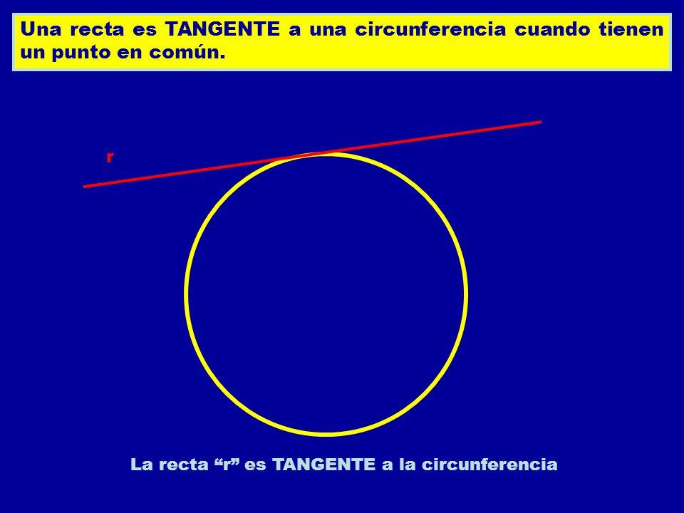 La recta r es TANGENTE a la circunferencia