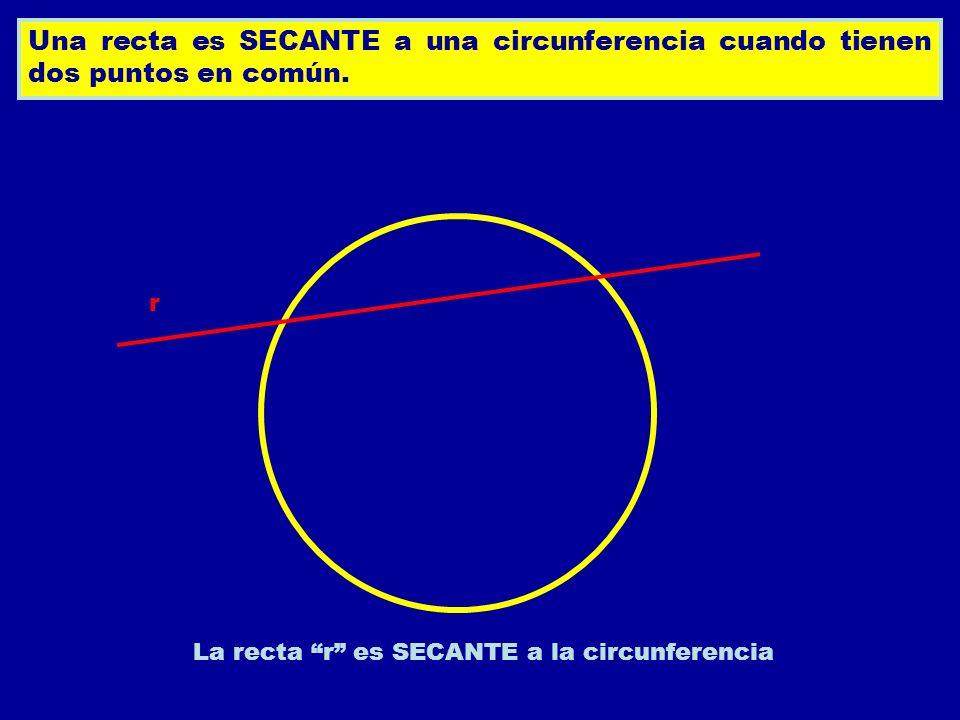 La recta r es SECANTE a la circunferencia
