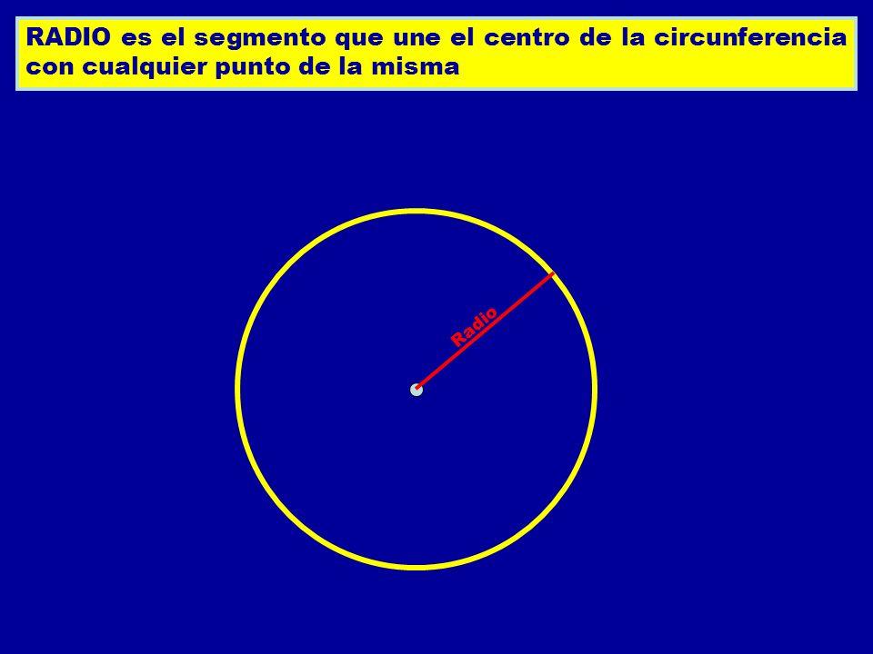 RADIO es el segmento que une el centro de la circunferencia con cualquier punto de la misma