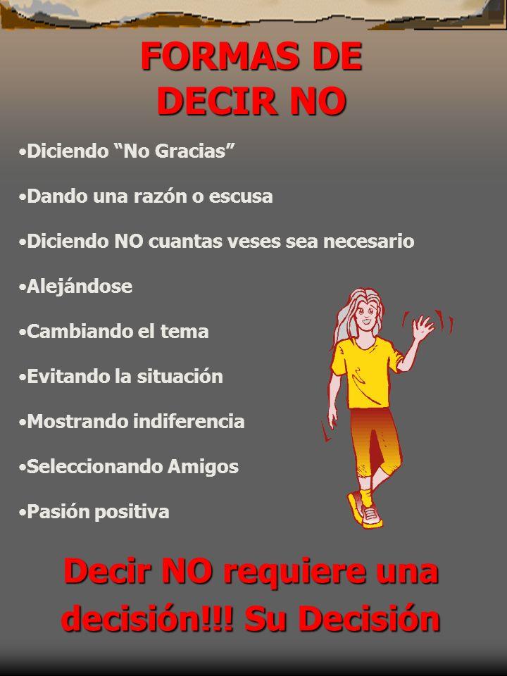 Decir NO requiere una decisión!!! Su Decisión
