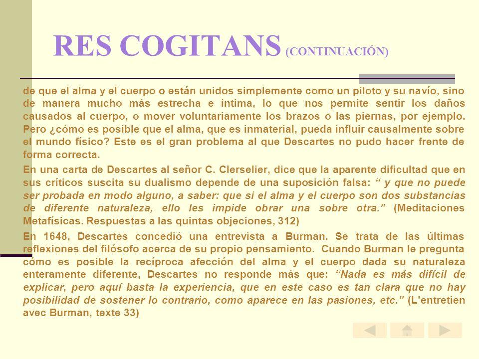 RES COGITANS (CONTINUACIÓN)
