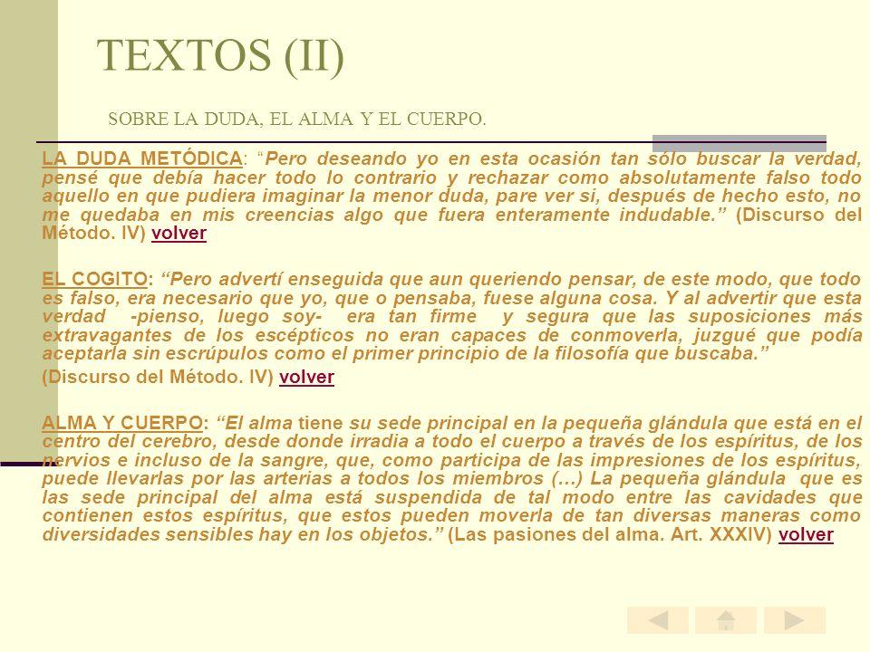TEXTOS (II) SOBRE LA DUDA, EL ALMA Y EL CUERPO.