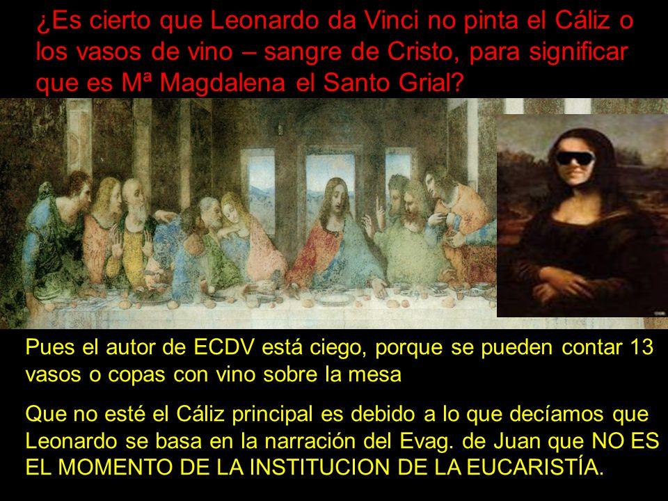 ¿Es cierto que Leonardo da Vinci no pinta el Cáliz o los vasos de vino – sangre de Cristo, para significar que es Mª Magdalena el Santo Grial