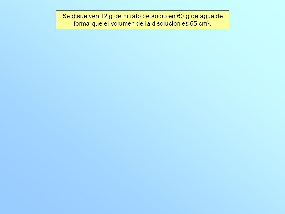 Se disuelven 12 g de nitrato de sodio en 60 g de agua de forma que el volumen de la disolución es 65 cm3.