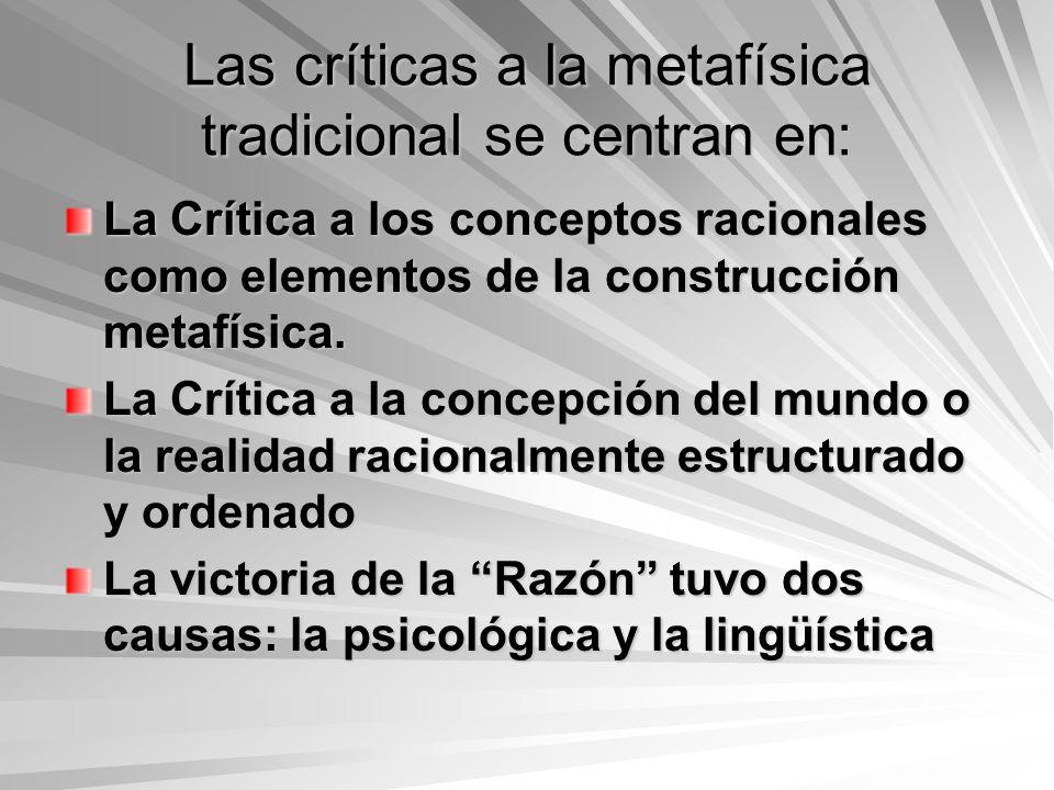 Las críticas a la metafísica tradicional se centran en: