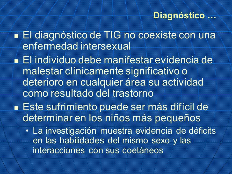 El diagnóstico de TIG no coexiste con una enfermedad intersexual