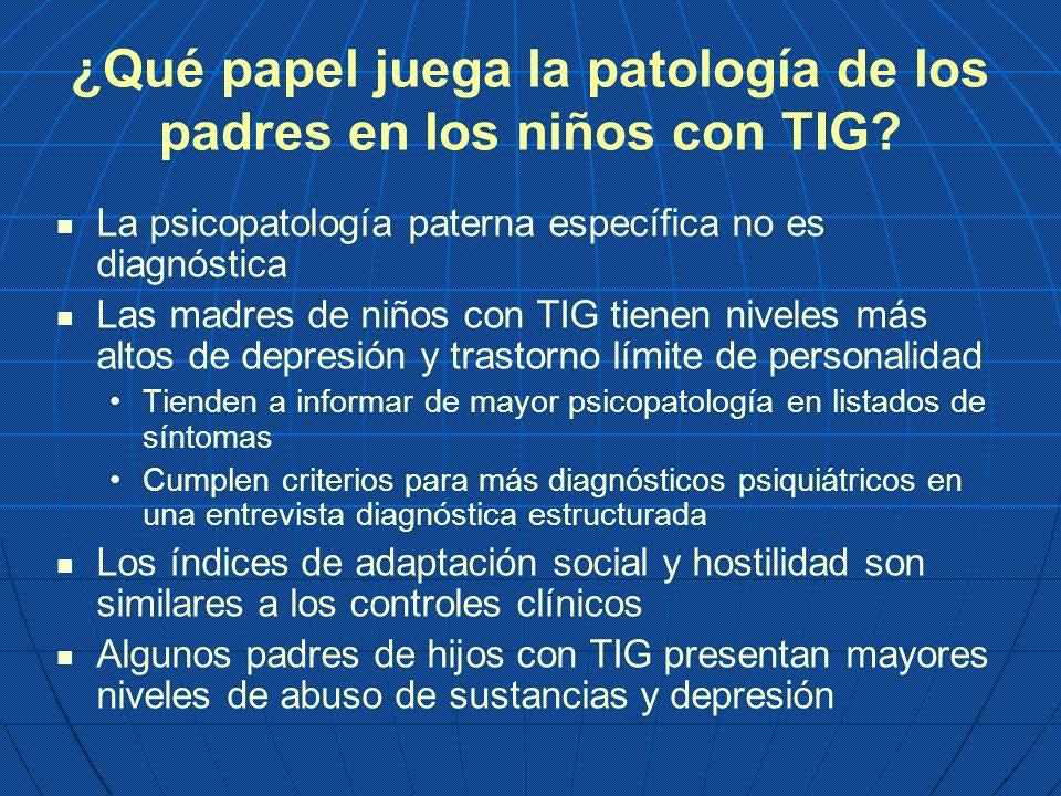 ¿Qué papel juega la patología de los padres en los niños con TIG