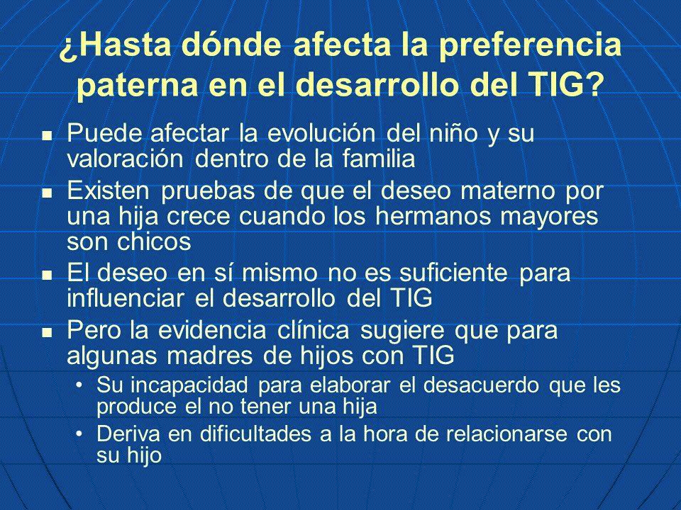 ¿Hasta dónde afecta la preferencia paterna en el desarrollo del TIG