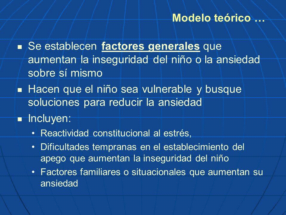Modelo teórico … Se establecen factores generales que aumentan la inseguridad del niño o la ansiedad sobre sí mismo.