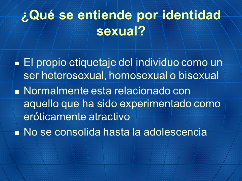 ¿Qué se entiende por identidad sexual