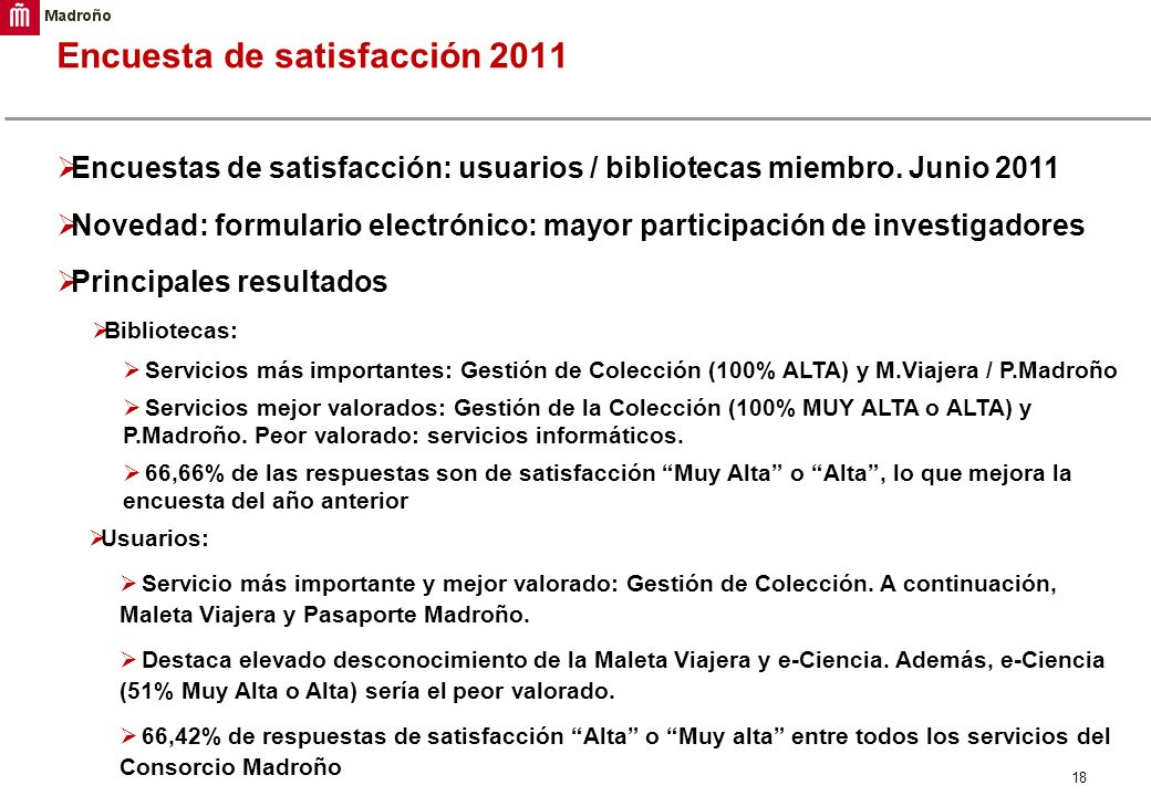 Encuesta de satisfacción 2011