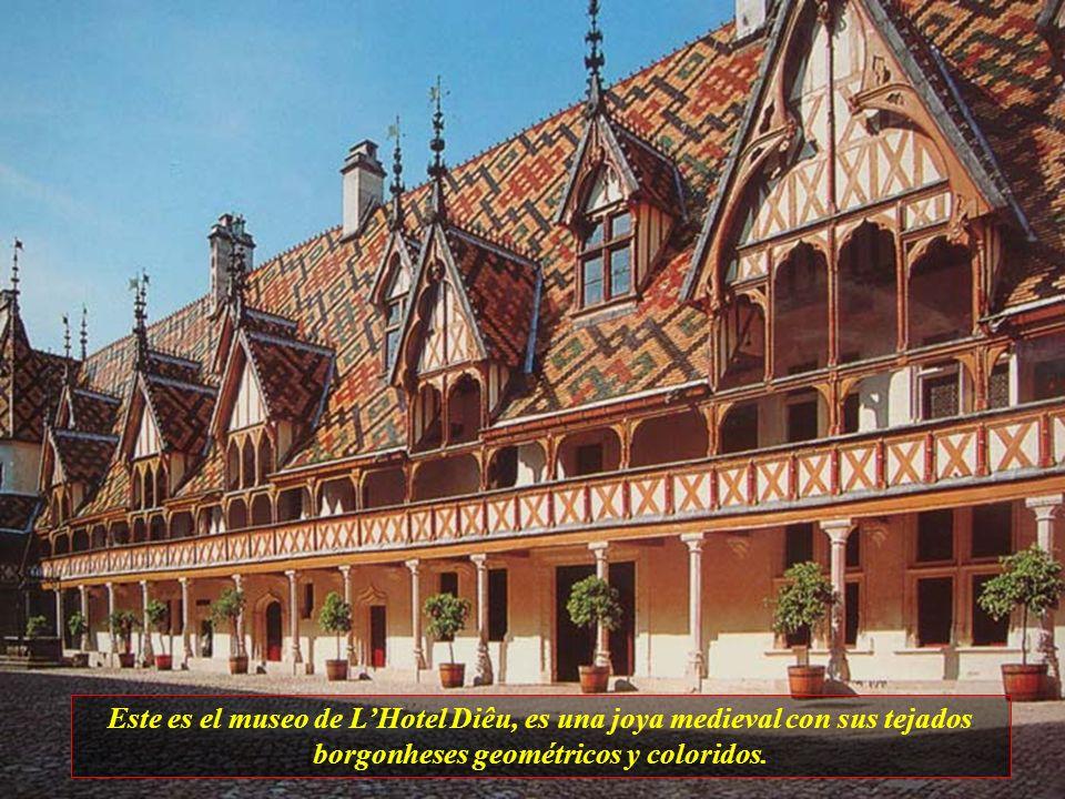 Este es el museo de L'Hotel Diêu, es una joya medieval con sus tejados borgonheses geométricos y coloridos.