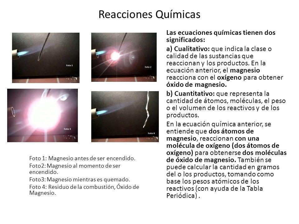 Reacciones Químicas Las ecuaciones químicas tienen dos significados: