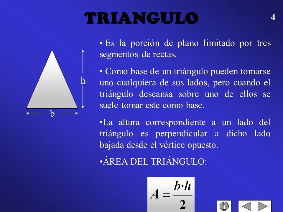 TRIANGULO Es la porción de plano limitado por tres segmentos de rectas.