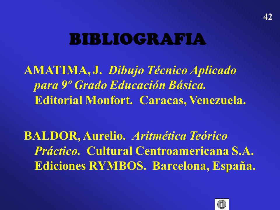 BIBLIOGRAFIA AMATIMA, J. Dibujo Técnico Aplicado para 9º Grado Educación Básica. Editorial Monfort. Caracas, Venezuela.