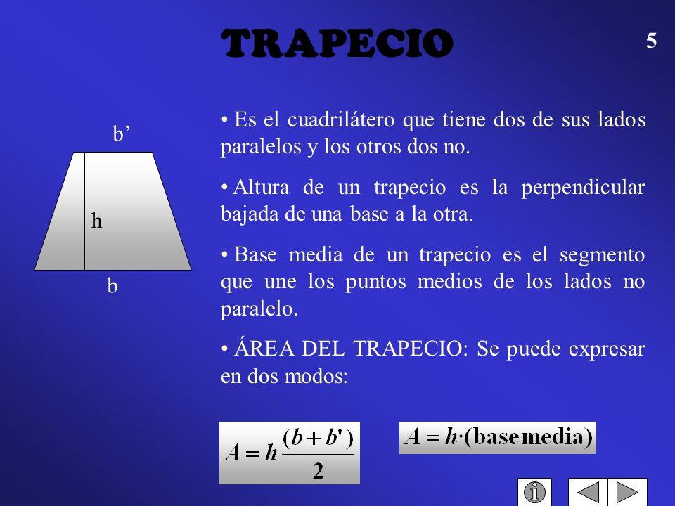 TRAPECIO Es el cuadrilátero que tiene dos de sus lados paralelos y los otros dos no.